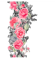 Lace and camellia flowers seamless border vector