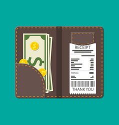 Leather folder with cash coins and cashier check vector