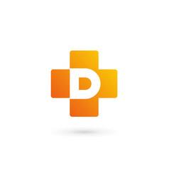 letter d cross plus logo icon design template vector image