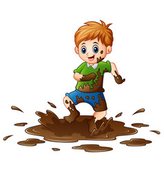 Little boy playing in the mud vector