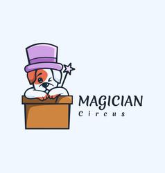 Logo magician dog mascot cartoon style vector