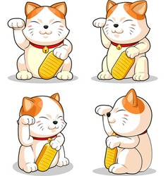 Lucky cat makeni neko from several positions vector