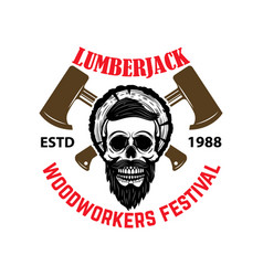 lumberjack woodworkers festival emblem template vector image