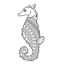 Mandala seahorse icon vector