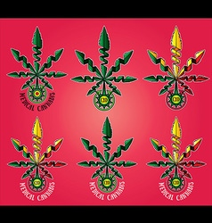 medical cannabis leaf symbol cbd design vector image