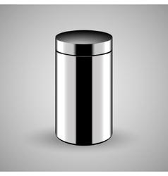 Metallic trash bin icon vector