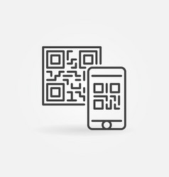 Mobile phone scanning qr code concept icon vector