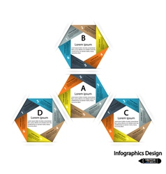 Modern hexagon infographics options banner vector