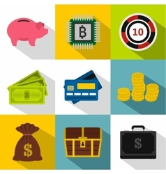 Monetary resource icons set flat style vector
