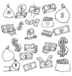 Money doodle set vector