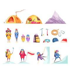 Mountaineering cartoon set vector