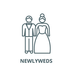 newlyweds line icon linear concept vector image