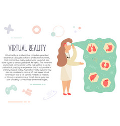 nurse in virtual reality learning anatomy vector image