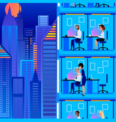 Office workers working at late cartoon vector