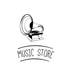 old gramophone retro music music store vector image