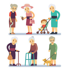 old women cartoon character set senior ladies in vector image