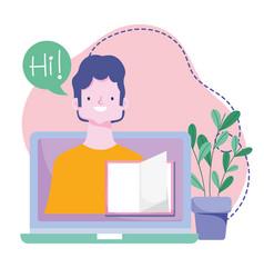 online training teacher in screen laptop book vector image