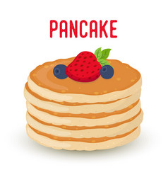 Pancakes with berriesstrawberry blueberry vector