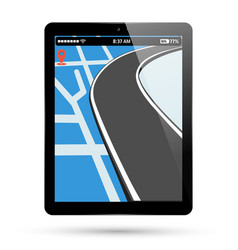 Pc tablet screen with gps navigation vector