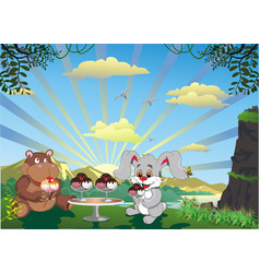 picture - rabbit and hippo with ice cream outdoors vector image
