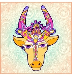 Pongal floral paisley pattern with cow vector