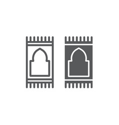 Prayer carpet line and glyph icon arabic and rug vector