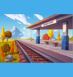 railway station at mountains autumn landscape vector image