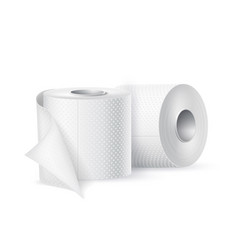 Realistic toilet paper roll white blank vector