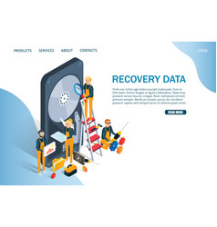 Recovery data website landing page design vector