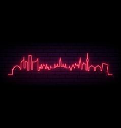Red neon skyline vienna city bright vienna vector