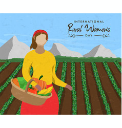 rural womens day card woman with farm vegetables vector image
