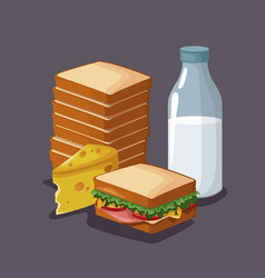 sandwich breakfast cartoon vector image