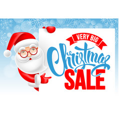 santa claus and christmas sale advertising poster vector image