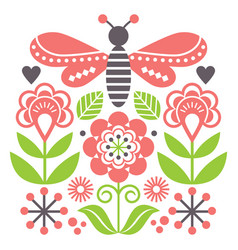 Scandinavian folk art style flowers and insect vector