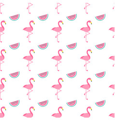 seamless pattern with pink flamingo birds and vector image