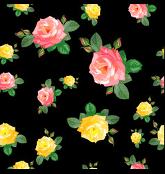 Seamless pattern with pinkyellow roses vector