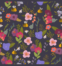 Seamless pattern with summer plants and flowers vector