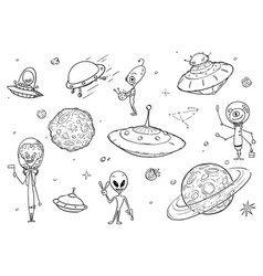 set cartoon alien monster characters ufo vector image