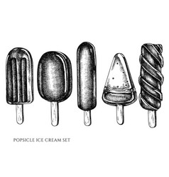 set hand drawn black and white popsicle vector image