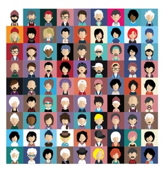 Set of people icons in flat style with faces 06 b vector image