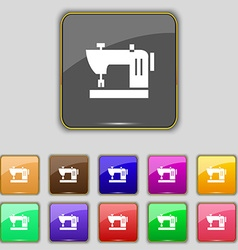 Sewing machine icon sign Set with eleven colored vector