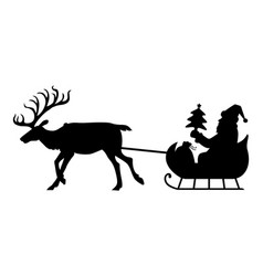 Silhouette santa riding on reindeer sleigh vector