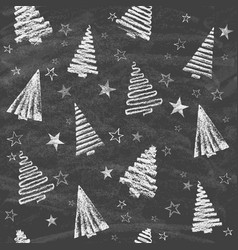 silhouettes christmas trees drawn on chalkboard vector image