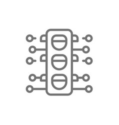 Smart traffic light line icon vector