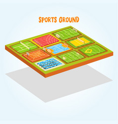 Sports grounds set tennis athletic football vector