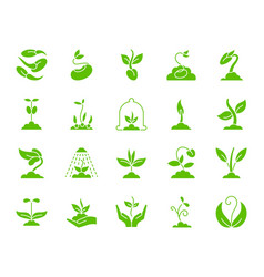 sprout green silhouette icons set on white vector image