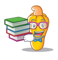 Student with book cashew mascot cartoon style vector