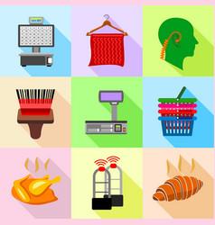 supermarket control icons set flat style vector image