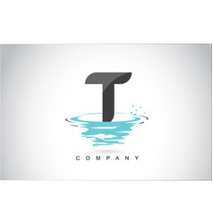 t letter logo design with water splash ripples vector image