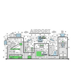 thin line airport poster banner template vector image